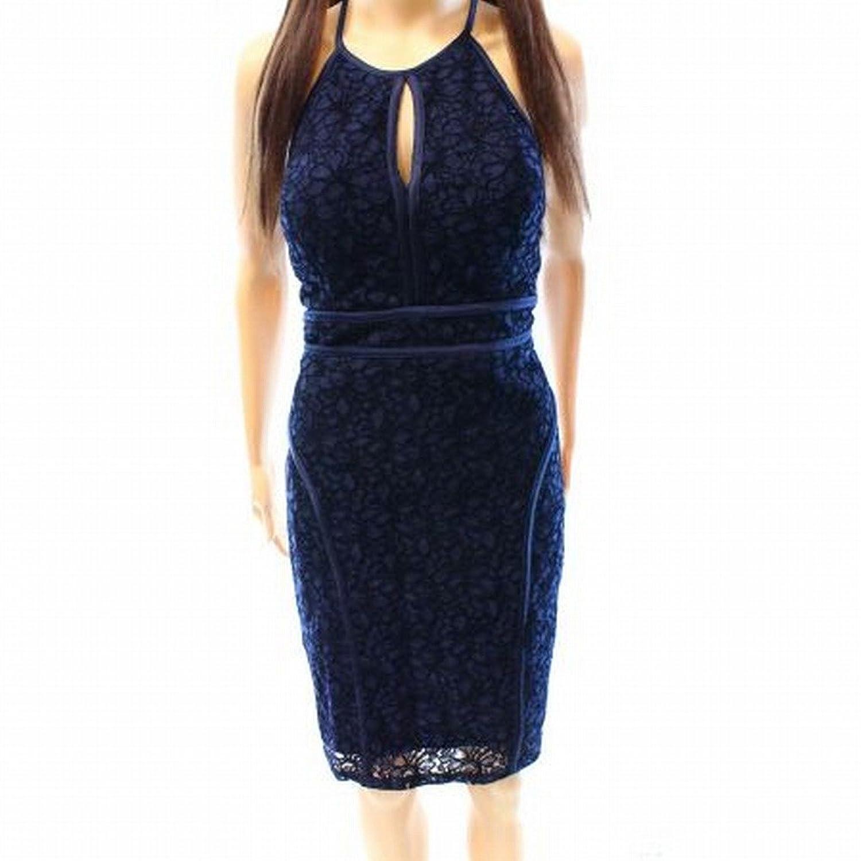 Xscape Floral Lace Womens Halter Keyhole Sheath Dress