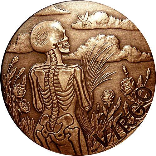 2015 United States Skullcoins VIRGO Memento Mori Zodiac Skull Horoscope Copper Coin 2015 Antique Finish