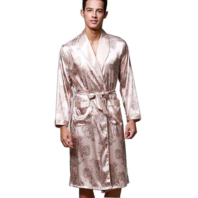 BOYANN Batas y Kimonos para Hombre Ropa de Dormir de Satén Albornoces Largos, Beige L