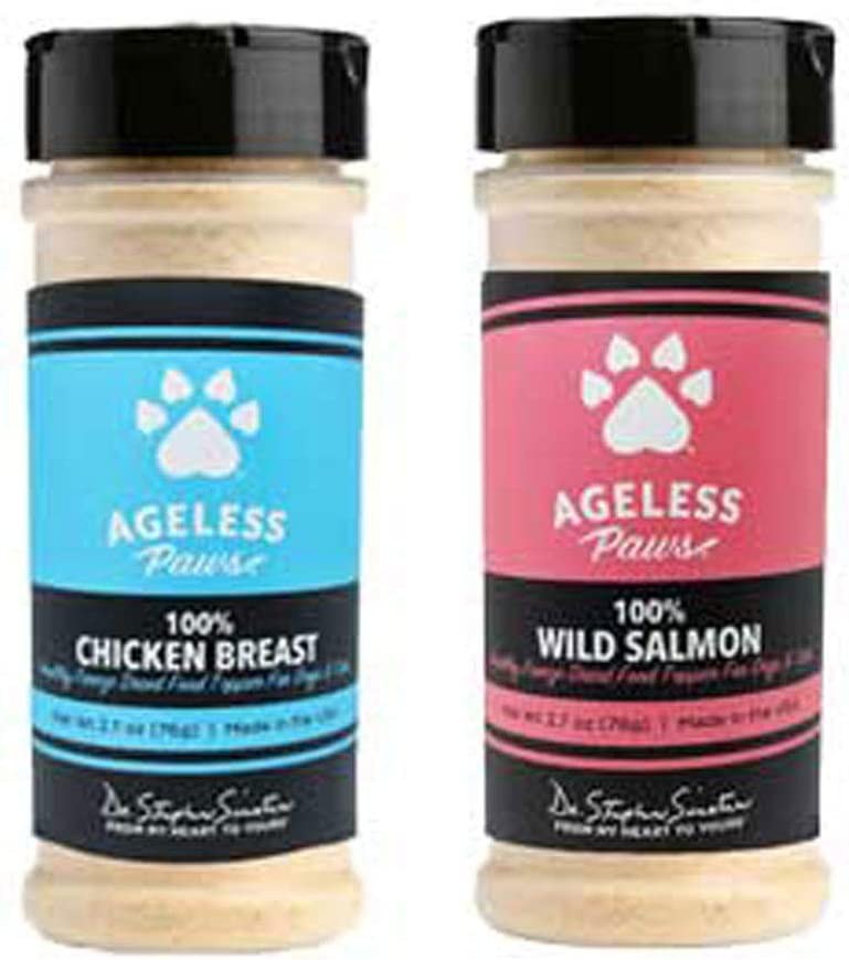 Ageless Paws Pet Food Topper Duo - Chicken and Salmon, USA-Made High Protein Freeze-Dried Food Topper for Dogs and Cats