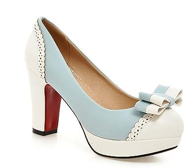 YE Plateau Chunky High Heels Schleife Elegant Pumps mit Bequem Blockabsatz Party Office Schuhe Damen