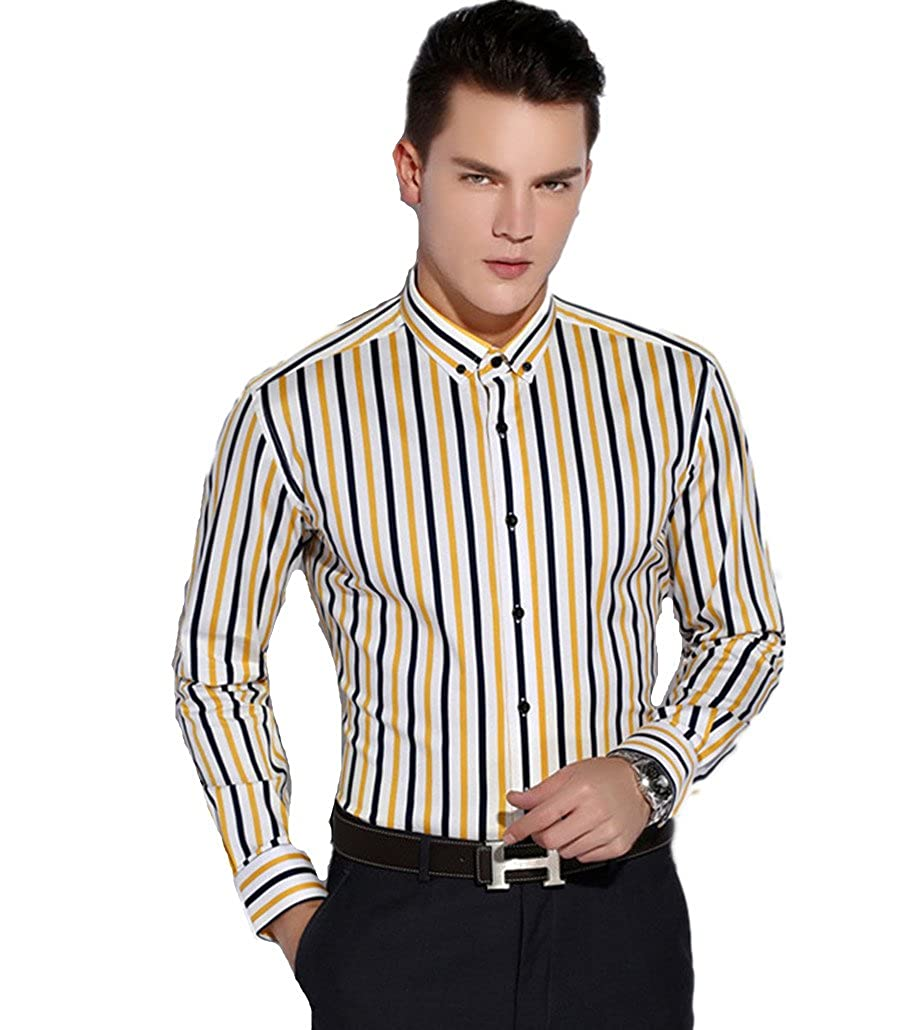 Dreamtao Mens Autumn and Winter Long-Sleeved Shirt Business Casual Striped Shirt