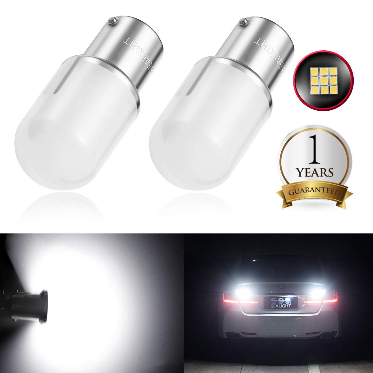 1141 1156 LED Bulbs Replacement for Reverse Backup Light Super Bright SEALIGHT 1003 BA15S 7506 12V SMD 3030 Chipsets 6000K Xenon White(Pack of 2)