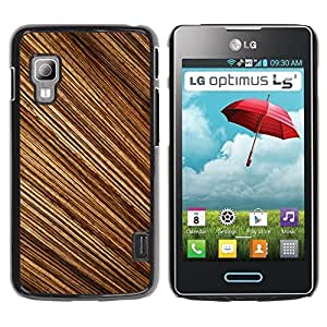 Qstar Arte & diseño plástico duro Fundas Cover Cubre Hard Case Cover para LG Optimus L5 II Dual E455 / E460 / Optimus Duet ( Pattern Random Stripes Wood Design Brown)