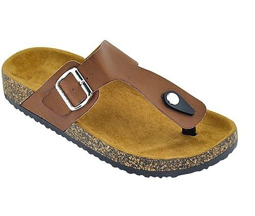 6f908b23a96f4f SNJ Women Casual Buckle Thong Strap Sandals.5.5 US Chestnut-B