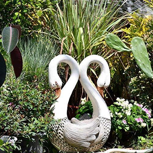 庭の装飾ダブルスワンハート型フラワーポット防水酸化マグネシウム庭の像庭の風景芝生の装飾のギフト-35 * 24 * 51cm A