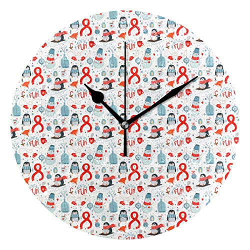 Penguin Likes Christmas Round Clock Non Ticking Excellent Accurate Sweep Movement Glass Cover Modern Decorative Kitchen Living Room Bathroom Bedroom -