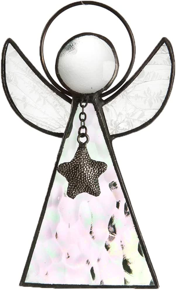 Angel Ornament Window Sun Catcher Clear Iridescent Stained Glass Christmas Tree Decoration Holiday Decor Memorial Remembrance Sympathy Gift J Devlin ORN 215-1 (Clear Iridescent)