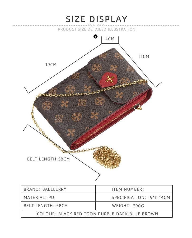 Dam retro axelväska messengerväska multifunktionell dragkedja mobiltelefonväska plånbok (färg: Rosa) Brun