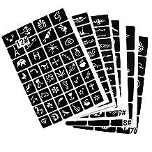 6 Sheet (Mixed 141pcs) Small Reusable Tattoo Stencil Temporary Tattoo Kit for Henna/Airbrush/Face Paint/Drawing Templates