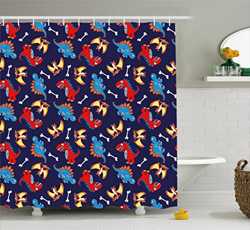Ambesonne Dinosaur Shower Curtain Three Different Cartoon Dinosaurs Funny Expressions And Bones Kids Theme