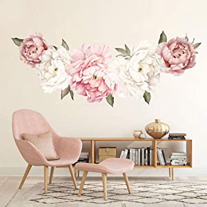 AWSN Wall Sticker Peony Rose Waterproof PVC Wall Decals Flowers for Nursery Room Sofa Background Living Room Bedroom Kitchen Playroom Decorations