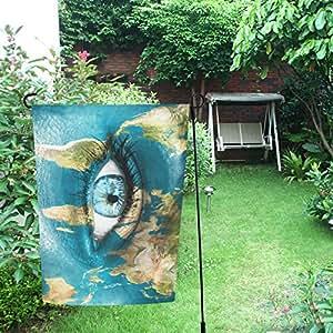 InterestPrint Happy More Custom - Bandera de doble jardín con diseño de mapa del mundo y océano azul (30,5 x 45,7 cm)