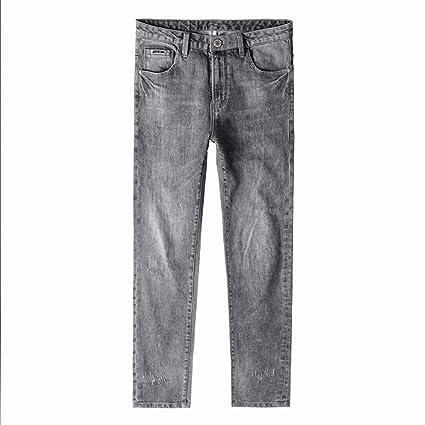 MOGAOK Pantalones Vaqueros Lavados Retro ahumados Grises de ...
