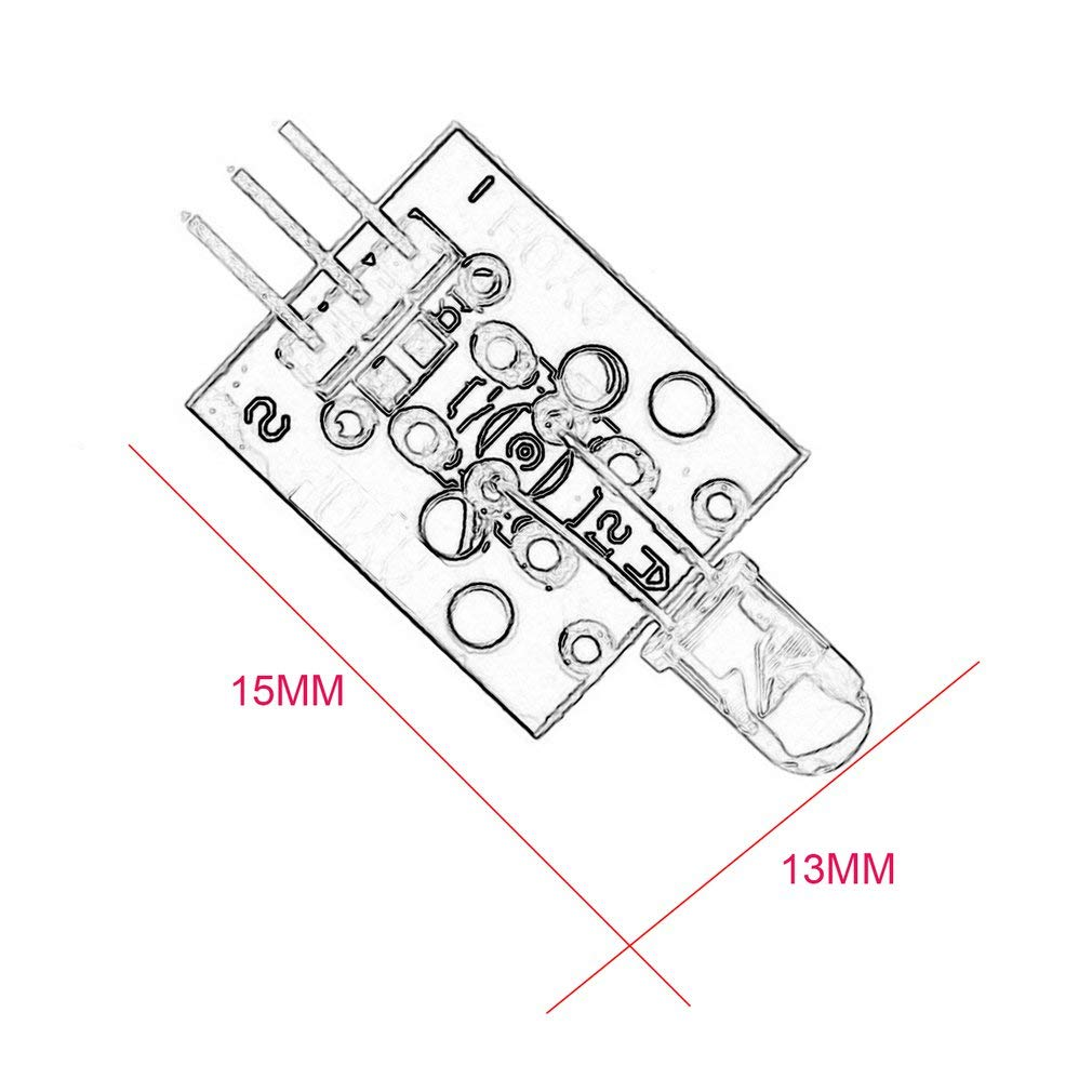 KY-005 38 KHz M/ódulo de Sensor de transmisor infrarrojo infrarrojo modulador para Arduino FA Negro