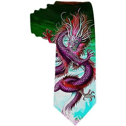 Corbata de los hombres Feroz dragón rosa y ojos verdes corbata de ...
