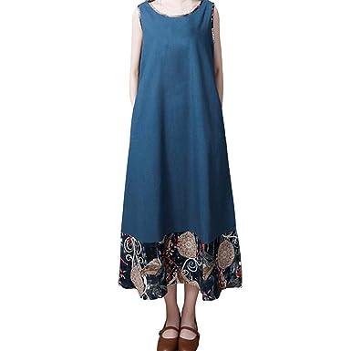 Pottoa Frauen Folk-Custom Lose Weste Kleid ärmelloses Kleid Lange Maxi-Kleid  Damen V bf0046f280