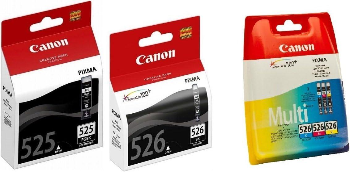 Canon PGI525+CLI526CMYBk - Pack 5 Cartuchos de Tinta para Impresora Canon Pixma