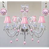Amazon kids chandeliers ceiling lights tools home improvement chandelier lighting w crystal pink shades balls h25 x w24 aloadofball Choice Image