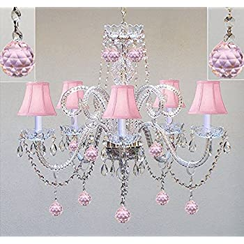chandelier shades light x w chrome perfect with room crystal rooms balls dp bedroom lighting and s kid for ac pink girls pieces shaped
