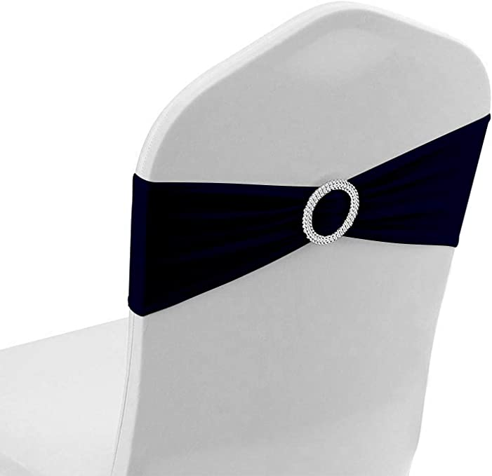 Parousia 50PCS Spandex Chair Sashes Bows Elastic Chair Bands with Buckle Slider Sashes Bows for Wedding Decorations(Navy Blue)