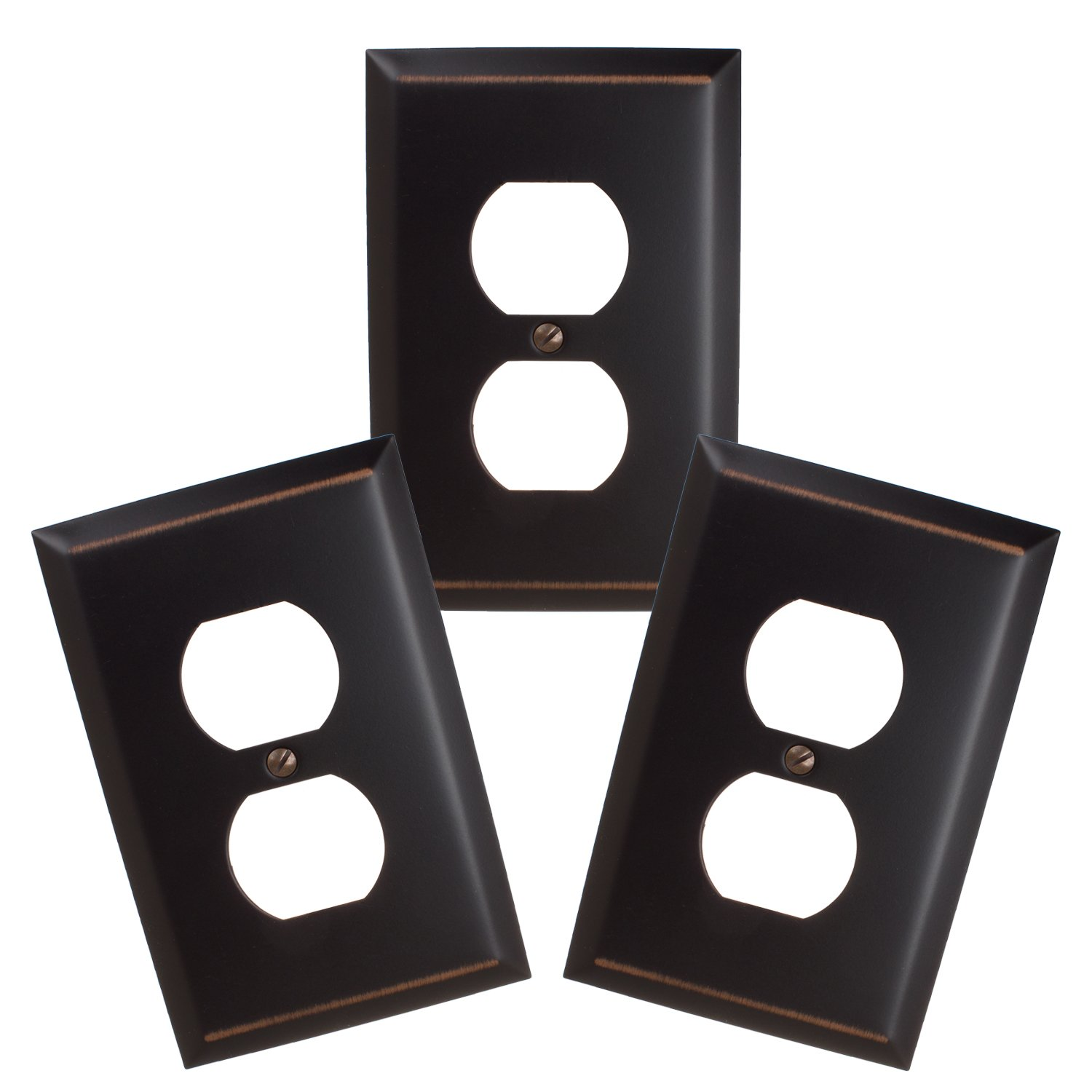 GlideRite Hardware 1-Gang Single Duplex Outlet Classic Square Beveled Wall Plate Covers (Single Duplex - 3 Pack, Oil Rubbed Bronze)