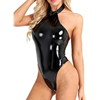 FEESHOW Women's Wet Look Leather Halter Backless Leotard Bodysuit Tops Clubwear