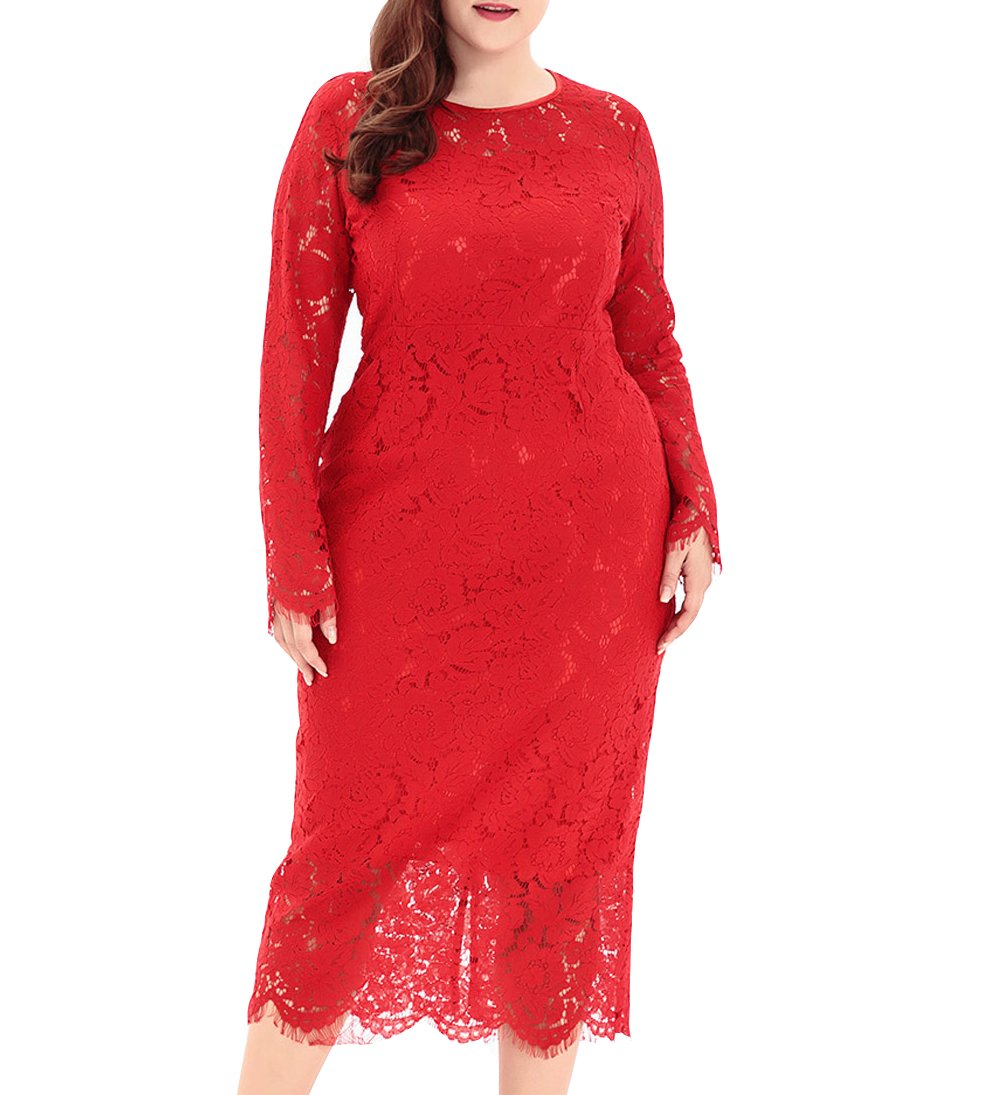 7ce1589cf85 Home Women s Dresses Black Friday Eternatastic Women s Floral Lace long  Sleeve Plus Size Dress for Christmas Dress Red 5XL.   