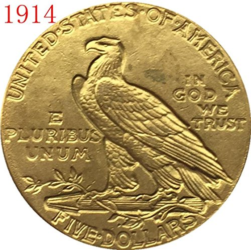 - RARE Antique USA United States 24-K Gold Plated 1914 $5 Indian Half Eagle Dollar Coin