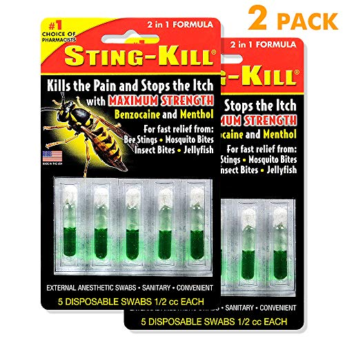 Sting-Kill Swabs, Fast Relief from Bee Stings, Mosquito Bites, Insect Bites, 5 Count-2 Pack