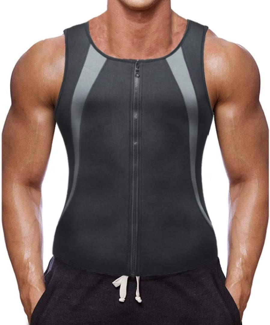 STRNGL Sauna Suit for Men - Hot Sweat Vest Waist Trainer Mens Tank Tops - Waist Trimmer Sauna Body Shaper for Weight Loss - Belly Fat Burner for Men - Neoprene Corset Compression Suit with Zipper