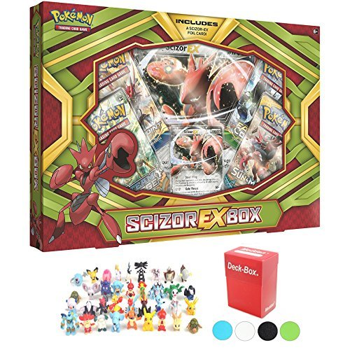 Pokemon Scizor EX Box with 6 Mini Pokemon Figures and Deck Box