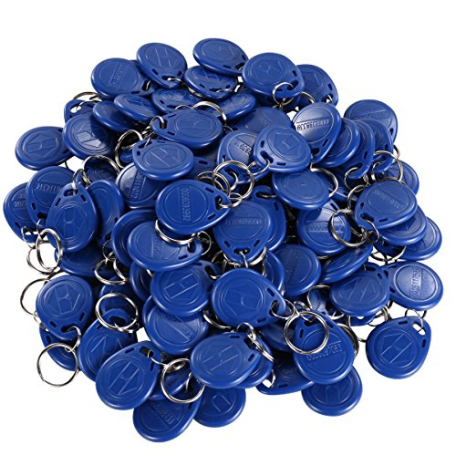 UHPPOTE Proximity 125KHz RFID EM-ID Card Tag Token Keyfob Read Only Color Blue (100 Pack)