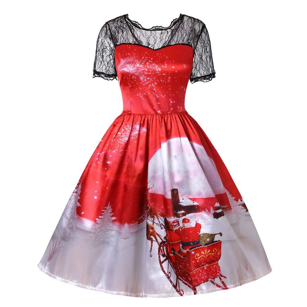 JURTEE Fashion Women's Dress Ladies Christmas Short Sleeve Lace Patchwork Printing Vintage Gown Party Dress JURTEE-123