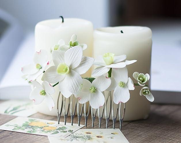 Amazon.com: Bridal hair comb - flower hair comb - white flower comb ...