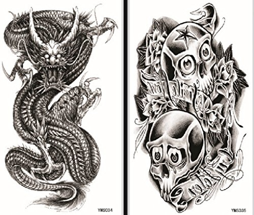 Spestyle fake tattoos that look real 2pcs Halloween fake temp tattoo stickers in one package, it including skulls and (Halloween Looks)