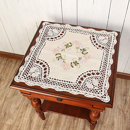 vanyear Handmade Crochet Lace Table Cloth Embroidered Doilies Placemat (Beige, 16.5inches(42cm))