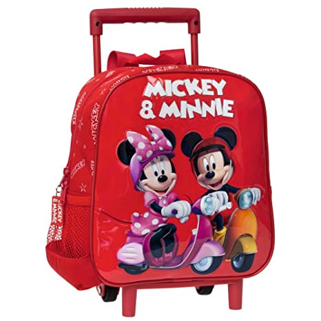 Disney Mickey y Minnie Mouse Mochila con Carro Fijo, Rojo