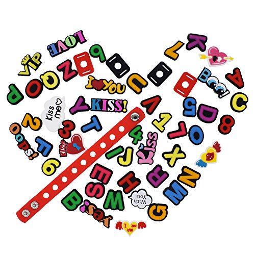 XHAOYEAHX Pack of 50 Shoe Charms of Letters Alphabet Numbers Love Kiss Words Fits for Croc Shoes & Wristband Bracelet + 4Pcs Shoe Lace Adapter + 1Pcs 7.08in Silicone Bracelet Bands by XHAOYEAHX (Image #1)