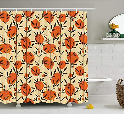 Ambesonne Nature Shower Curtain, Floral Flower Ivy with Leaves Botanical Forest Trees and Circled Backdrop, Fabric Bathroom Decor Set with Hooks, 70 inches, Orange Cream Black