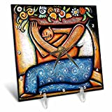 3dRose dc_21129_1 Flower Girl Mexican Art Colorful Desk Clock, 6 by 6-Inch