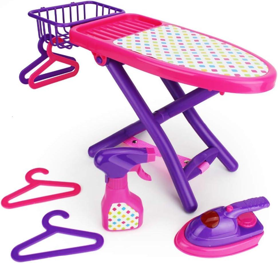 Boley Pretend spielen Laundry Playset - Pink und Purple Laundry Toys mit Ironing Board, Toy Iron, Spray Bottle, Hangers und Toy Storage Basket für Kids und Toddlers