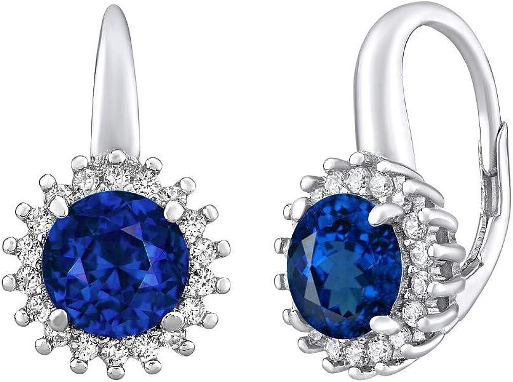 SILVEGO - LPSE0754 - Pendientes para Mujer de Plata 925 con Zafiro Azul Sintético