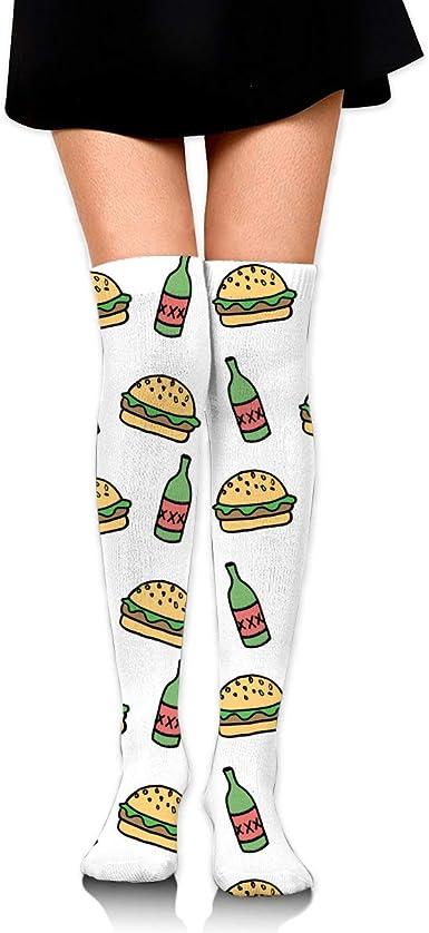 High Elasticity Girl Cotton Knee High Socks Uniform Vegetables Hamburgers And Beers Women Tube Socks