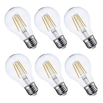 GMY Lighting Bombillas LED de filamento E27 Regulable A60 4.5W Equivalente 40W 470lm Blanco cálido