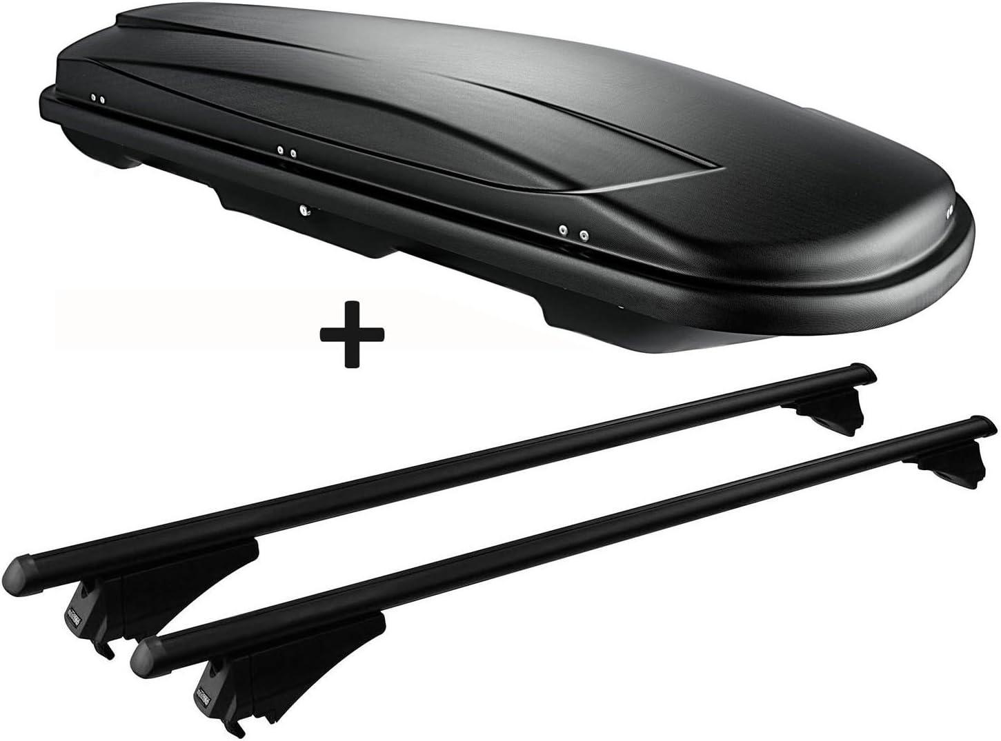 Vdp Dachbox Schwarz Juxt 400 Dachkoffer 400 Liter Abschließbar Alu Relingträger Aufliegende Reling Kompatibel Mit Audi A4 8k Avant 2008 2014 Auto