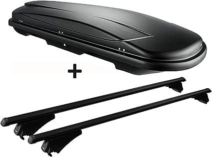Relingtr/äger aufliegende Reling kompatibel mit Hyundai Santa Fe ab 2013 bis VDP Dachbox schwarz Juxt 400 Dachkoffer 400 Liter abschlie/ßbar