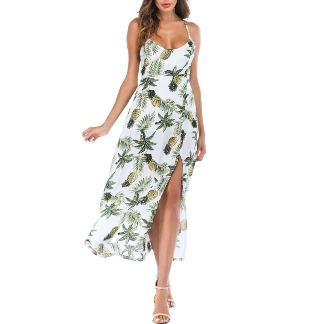 VIASA Womens Summer Pineapple Long Fashion Sexy Boho Dress Lady Beach Summer Sundrss Maxi Dress (S, Green)