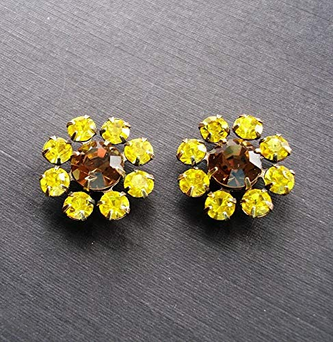 2-Vintage Smoke Topaz and Citrine Rhinestones in Antiqued Brass Settings.