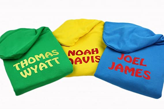 Personalised Boys Embroidered Hoodie Any Wording 6 Colours available Age 1-13